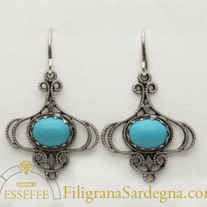 Orecchini in argento filigrana con turchese
