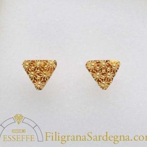 Orecchini in oro con triangolo a nido d'ape