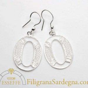 Orecchini ovali in filigrana d'argento a giorno