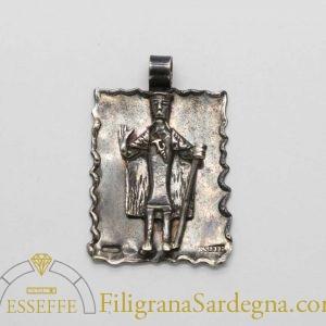 Pendente in argento con bronzetto