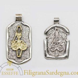 Pendente in argento e oro con guerriero nuragico